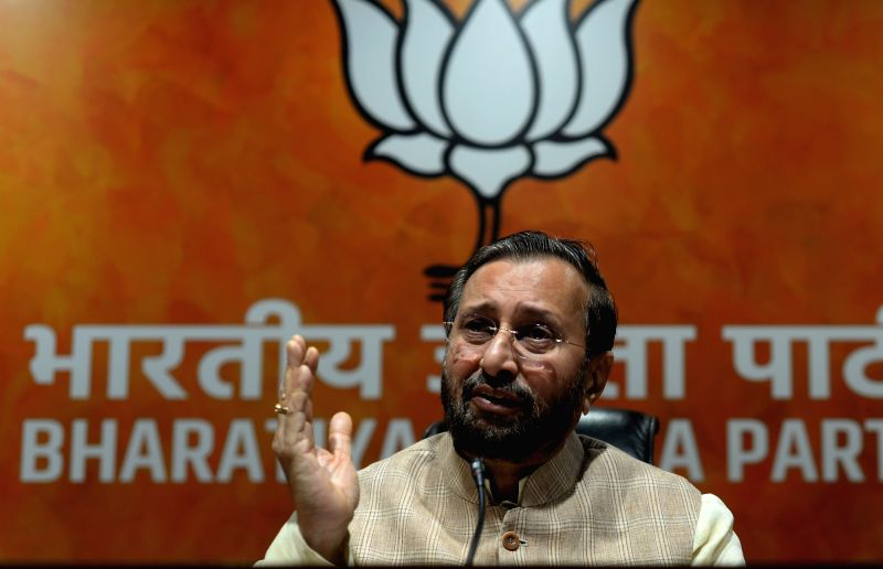 : New Delhi: Union Minister and BJP leader Prakash Javadekar addresses a press conference at the party's headquarter, in New Delhi on July 16, 2018. (Photo: IANS).