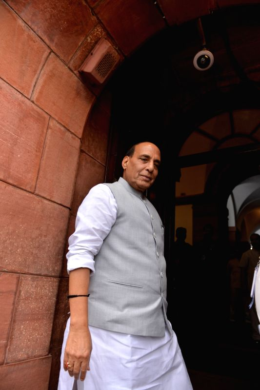 :New Delhi: Union Minister and BJP MP Rajnath Singh at Parliament, in New Delhi on July 25, 2018. (Photo: IANS).