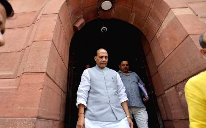 : New Delhi: Union Minister and BJP MP Rajnath Singh at Parliament, in New Delhi on Aug 2, 2018. (Photo: IANS).