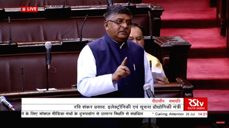 :New Delhi: Union Minister and BJP MP Ravi Shankar Prasad speaks on the Government's action plan to tackle the misuse of social media platforms, at Rajya Sabha during the Monsoon session of ...