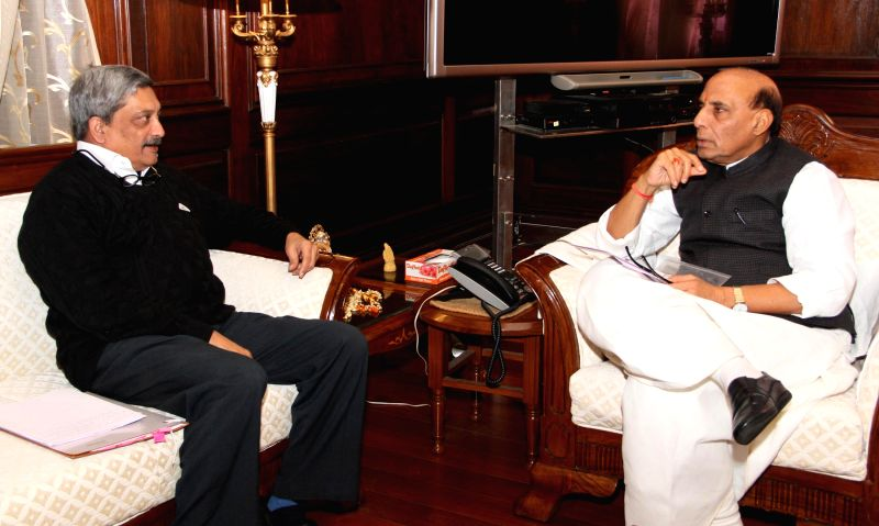 Union Minister for Defence Manohar Parrikar calls on Union Home Minister Rajnath Singh, in New Delhi on Ja n 15, 2015.