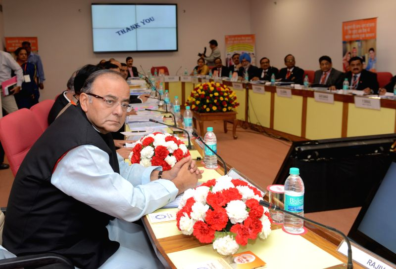 Union Minister for Finance, Corporate Affairs and Information & Broadcasting, Arun Jaitley during a meeting with the CMDs and CEOs of Public Sector Banks and Financial Institutions at .