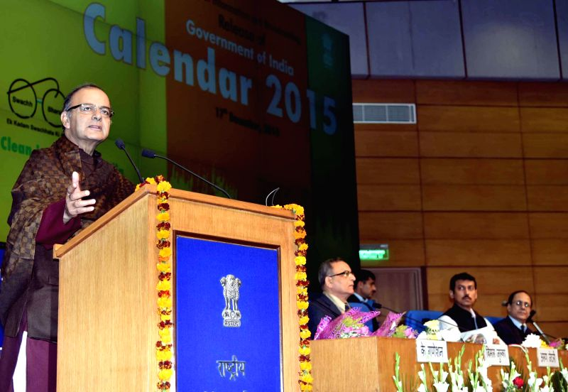 Union Minister for Finance, Corporate Affairs, and Information and Broadcasting Arun Jaitley addresses during a programme organised to launch the Government of India Calendar 2015 in New ..
