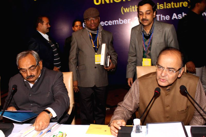 Union Minister for Finance, Corporate Affairs, and Information and Broadcasting Arun Jaitley during a pre-budget meeting with the Finance Ministers from different states in New Delhi, on ..