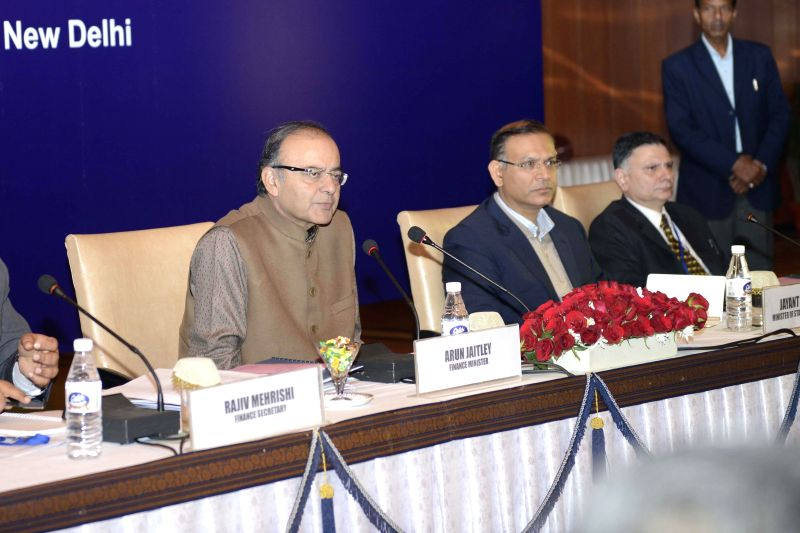 Union Minister for Finance, Corporate Affairs, and Information and Broadcasting Arun Jaitley and Union Minister of State for Finance Jayant Sinha during a pre-budget meeting with the ... - Jayant Sinha
