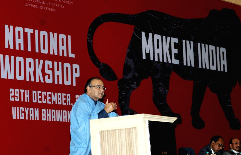 "Union Minister for Finance, Corporate Affairs and Information and Broadcasting Arun Jaitley addresses at the National Workshop on ""Make in India"", in New Delhi on Dec 29, 2014."