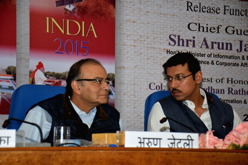Union Minister for Finance, Corporate Affairs, and Information and Broadcasting Arun Jaitley with the Union MoS Information and Broadcasting Rajyavardhan Singh Rathore during the release .. - Rajyavardhan Singh Rathore
