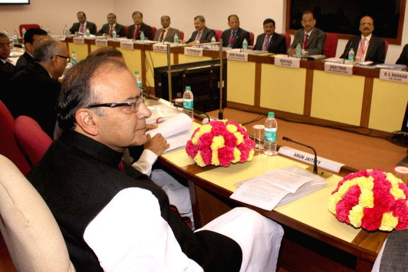 Union Minister for Finance, Corporate Affairs, and Information and Broadcasting Arun Jaitley during a Quarterly Performance Review Meeting with the Chief Executive Officers (CEOs) of ... - Arun Jaitley