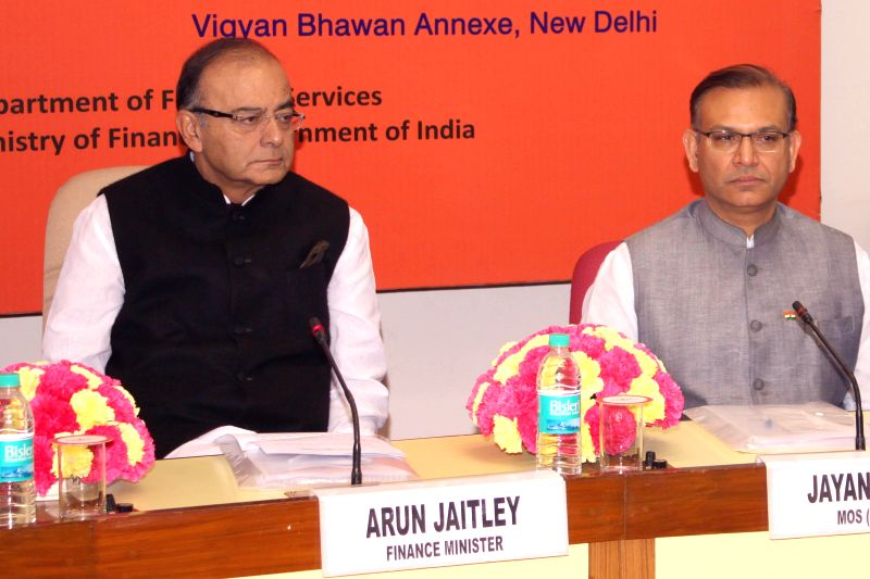 Union Minister for Finance, Corporate Affairs, and Information and Broadcasting Arun Jaitley with Union MoS Finance Jayant Sinha during a Quarterly Performance Review Meeting with the ... - Arun Jaitley and Jayant Sinha