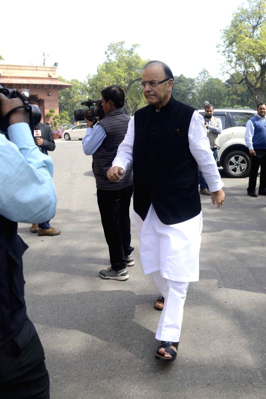 Union Minister for Finance, Corporate Affairs, and Information and Broadcasting Arun Jaitley  at the Parliament in New Delhi, on March 11, 2015. - Arun Jaitley