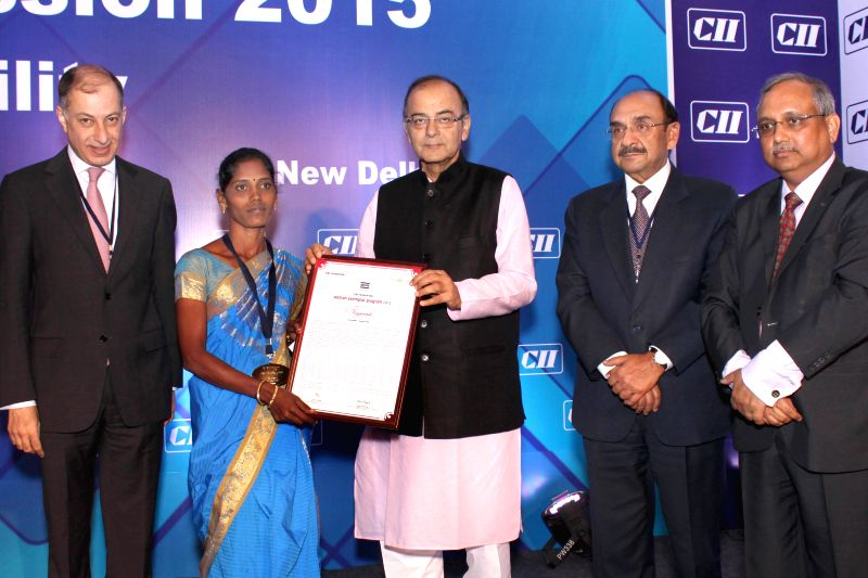 Union Minister for Finance, Corporate Affairs, and Information and Broadcasting Arun Jaitley and others at CII's Annual Session -` Building India : A Shared Responsibility` in New Delhi, ... - Arun Jaitley