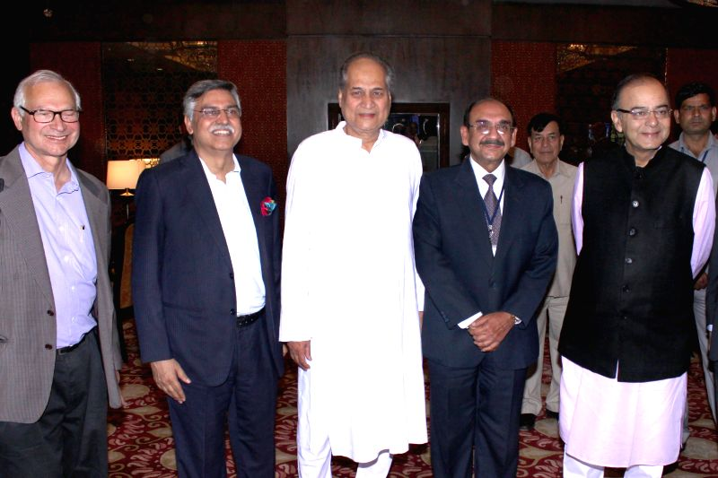 Union Minister for Finance, Corporate Affairs, and Information and Broadcasting Arun Jaitley, Delhi Police Commissioner BS Bassi and others at CII's Annual Session -` Building India : A ... - Arun Jaitley