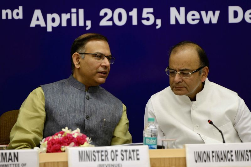 Union Minister for Finance, Corporate Affairs and Information and Broadcasting Arun Jaitley and Union Minister of State for Finance Jayant Sinha chairs a meeting of the State Finance ... - Arun Jaitley and Jayant Sinha