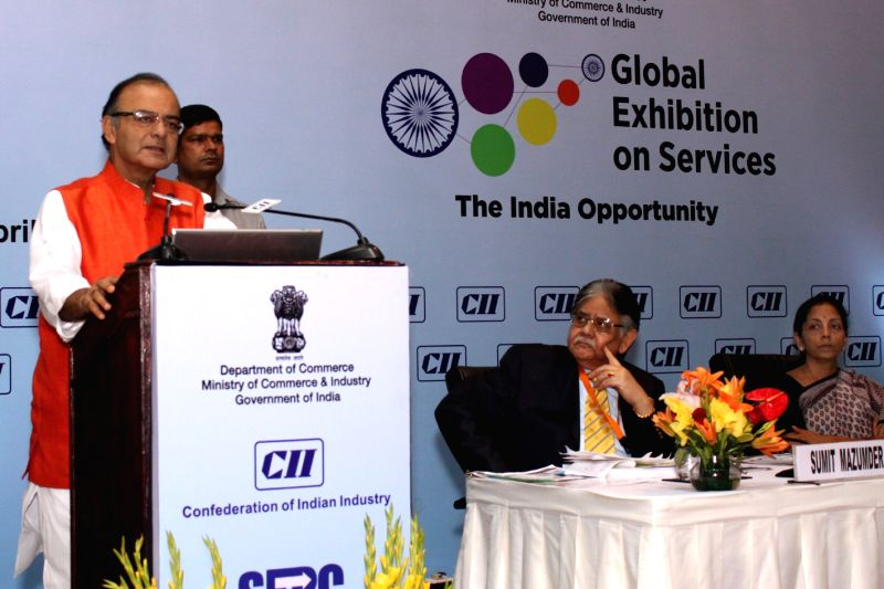 Union Minister for Finance, Corporate Affairs, and Information and Broadcasting Arun Jaitley addresses at the valedictory session of Global Exhibition on Services in New Delhi, on April ... - Arun Jaitley