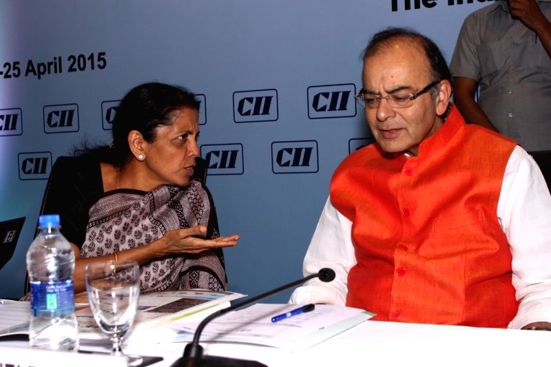 Union Minister for Finance, Corporate Affairs, and Information and Broadcasting Arun Jaitley and Union MoS  Commerce and Industry Nirmala Sitharaman  at the valedictory session of Global ... - Arun Jaitley