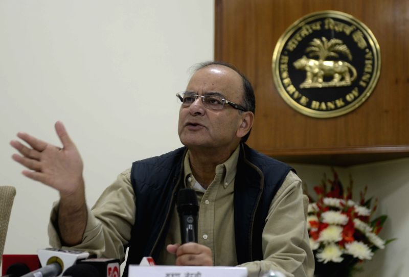 New Delhi:Union Minister for Finance, Corporate Affairs, and Information and Broadcasting Arun Jaitley brief the press after meeting with the Chairmen and Managing Directors of Public Sector Banks ...