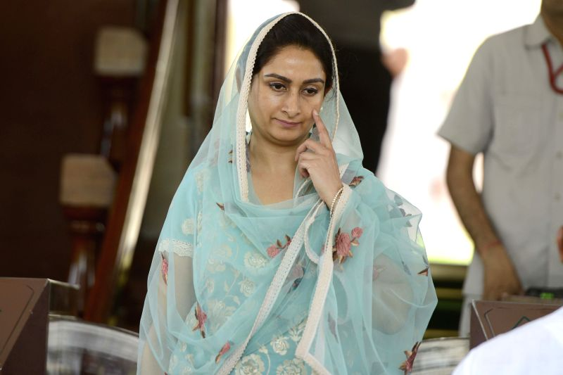 Union Minister for Food Processing Industries Harsimrat Kaur Badal at the Parliament house in New Delhi, on April 24, 2015.
