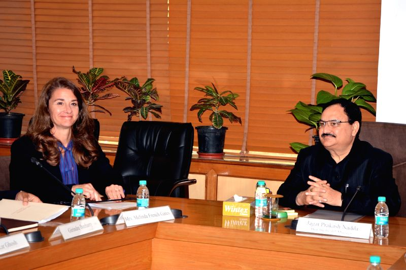 Union Minister for Health & Family Welfare, Jagat Prakash Nadda meeting Melinda Gates, co-chair of the Bill & Melinda Gates Foundation in New Delhi on April 20, 2015.