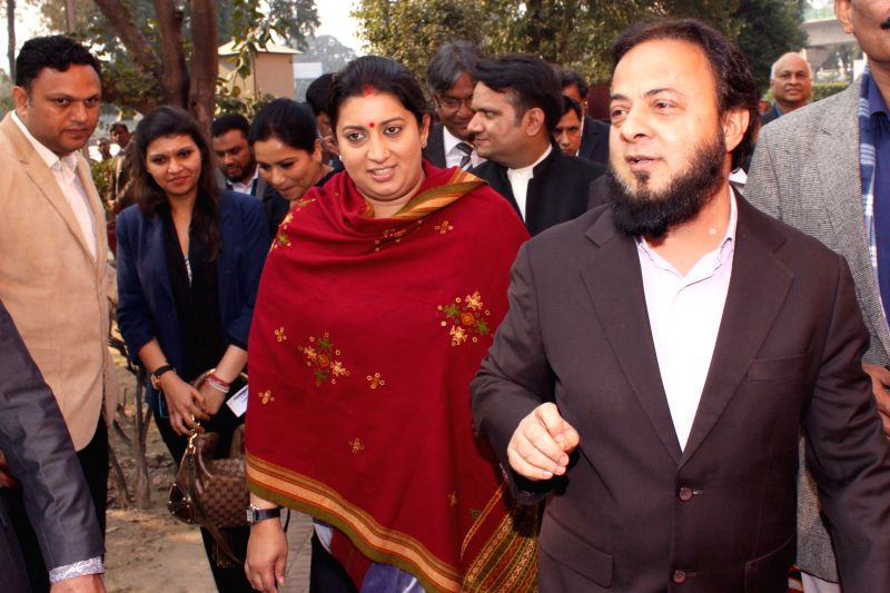 Union Minister for Human Resource Development Smriti Irani with Gujarati businessman Zafar Sareshwala during the symposium ``Educating and Mainstreaming of Indian Muslims`` at Jamia Millia