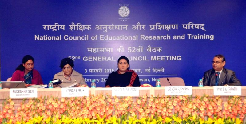 Union Minister for Human Resource Development, Smriti Irani during the 52nd General Council Meeting of the National Council of Educational Research and Training (NCERT), in New Delhi, on ..