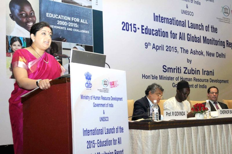 Union Minister for Human Resource Development Smriti Irani addresses at the International launch of the 2015 Education for All Global Monitoring Report (GMR), in New Delhi, on April 9, ...