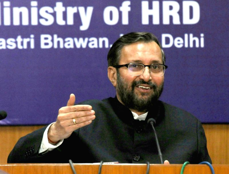 : New Delhi: Union Minister for Human Resource Development Prakash Javadekar addresses a press conference in New Delhi on Jan 31, 2018. (Photo: IANS/PIB).