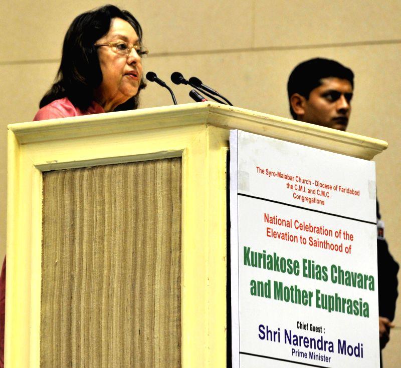 Union Minister for Minority Affairs, Dr. Najma A Heptulla addresses at the National Celebration of the Elevation to Sainthood of Kuriakose Elias Chavara and Mother Euphrasia, in New Delhi .