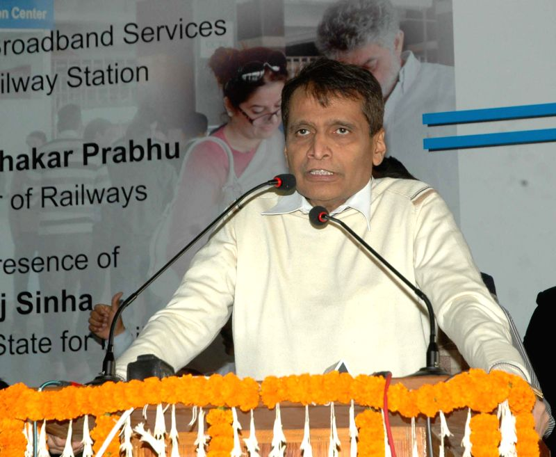 Union Minister for Railways Suresh Prabhu addresses at the launch of the Wi-Fi Broadband services for public, at New Delhi railway station in New Delhi on Dec 8, 2014. - Suresh Prabhu