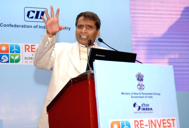 Union Minister for Railways Suresh Prabhakar Prabhu addresses at the Showcase of policy incentives by States, in New Delhi on Feb 16, 2015.