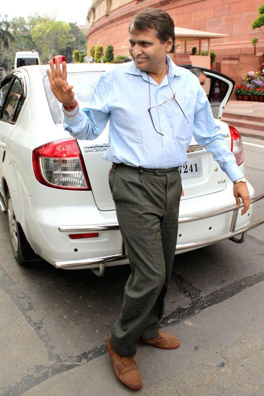 Union Minister for Railways Suresh Prabhakar Prabhu at the Parliament in New Delhi, on March 13, 2015. - Suresh Prabhakar Prabhu