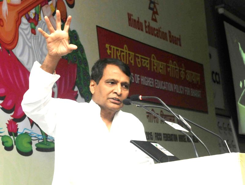 Union Minister for Railways Suresh Prabhakar Prabhu addresses during a Conference on Higher Education Policy, organised by the Hindu Education Board, in New Delhi on June 8, 2015. - Suresh Prabhakar Prabhu