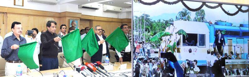 :New Delhi: Union Minister for Railways Suresh Prabhakar Prabhu flagg off the first BG Fast Passenger Train from Silchar to Guwahati via Lumding, Haflong, through video conferencing from Rail ... - Suresh Prabhakar Prabhu