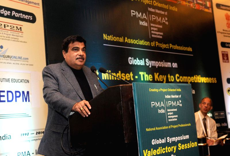Union Minister for Road Transport and Highways, and Shipping, Nitin Gadkari addresses at a Global Symposium, 2014 organised by the International Institute of Project and Program Management