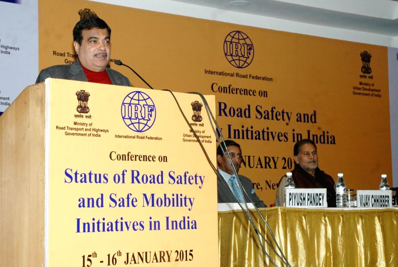 Union Minister for Road Transport and Highways and Shipping Nitin Gadkari addresses at the conference on `Status of Road Safety and Safe Mobility Initiatives` in India, in New Delhi on ...