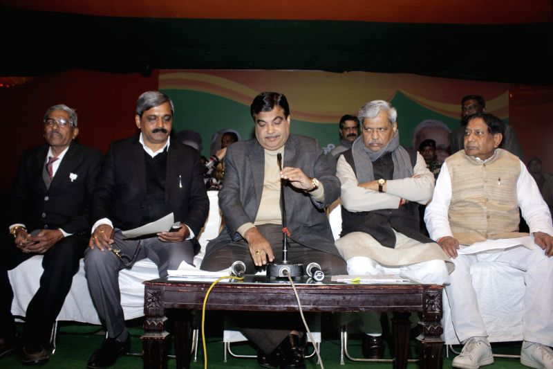 Union Minister for Road Transport and Highways, and Shipping Nitin Gadkari and Delhi BJP chief Satish Upadhyay with other leaders during a press conference at 14 Panth Marg in New Delhi on