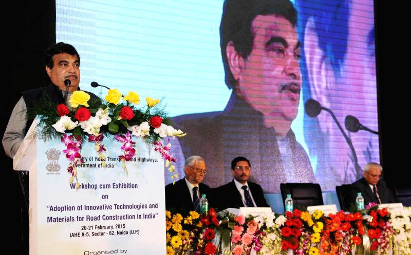 Union Minister for Road Transport and Highways and Shipping Nitin Gadkari addresses at the inauguration of a workshop-cum- exhibition on adoption of innovative technologies and materials ...
