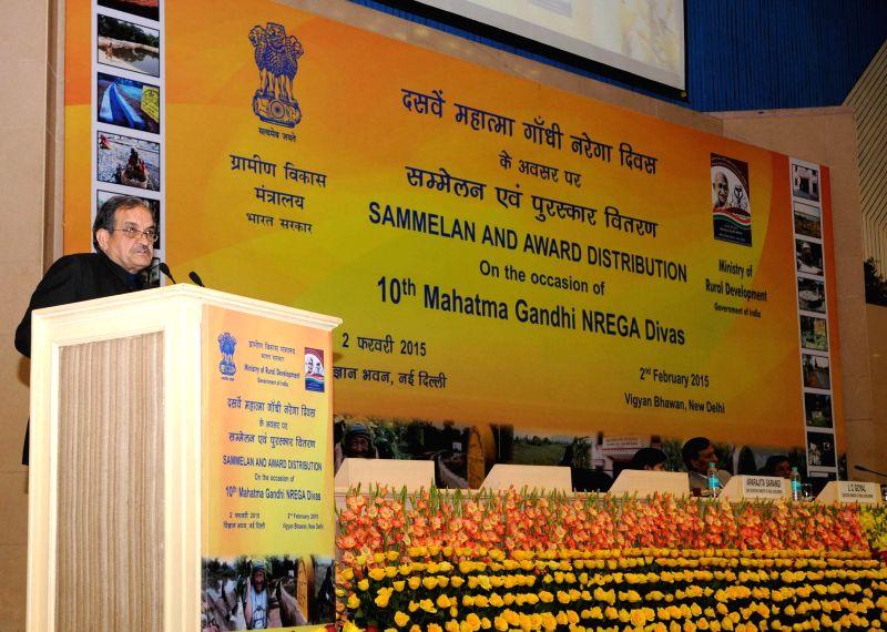 Union Minister for Rural Development, Panchayati Raj, Drinking Water and Sanitation, Birender Singh addresses at the MNREGA Divas celebrations and the presentation of the MNREGA Awards, in - Birender Singh