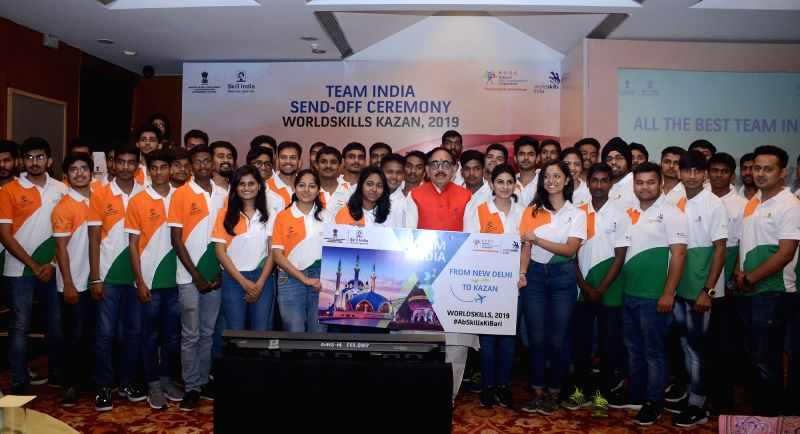 New Delhi: Union Minister for Skill Development and Entrepreneurship, Dr. Mahendra Nath Pandey at the sending off ceremony of Team India representing the country, at the World Skills International Competition 2019, in New Delhi on Aug 18, 2019. (Phot