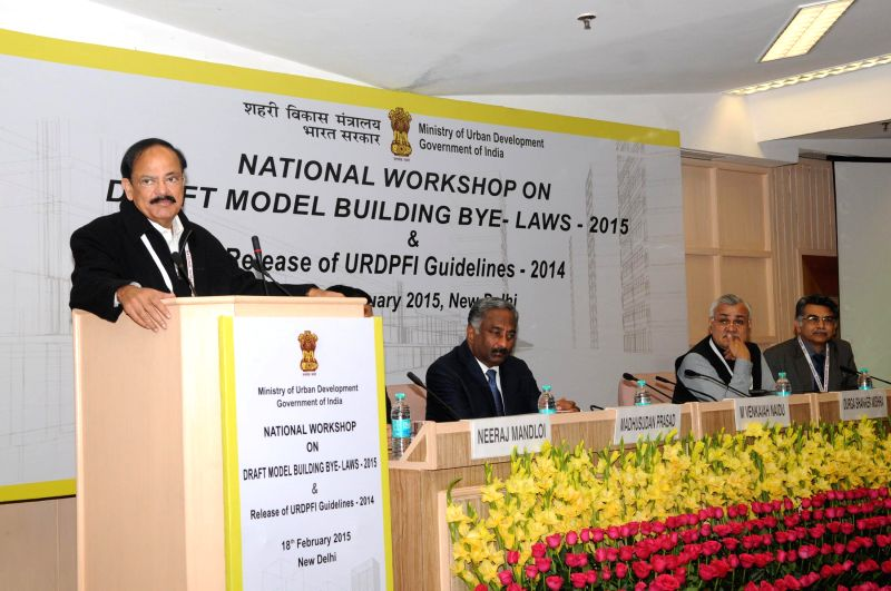 Union Minister for Urban Development, Housing and Urban Poverty Alleviation and Parliamentary Affairs M Venkaiah Naidu addresses at the National Workshop on Draft Model Building ... - Venkaiah Naidu