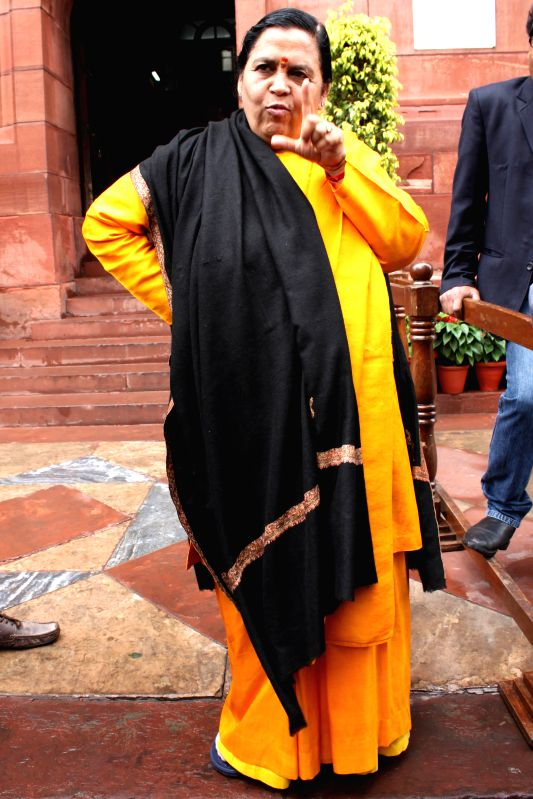 Union Minister for Water resource, River Development and Ganga Rejuvenation Uma Bharti at the Parliament in New Delhi, on March 2, 2015.  ​