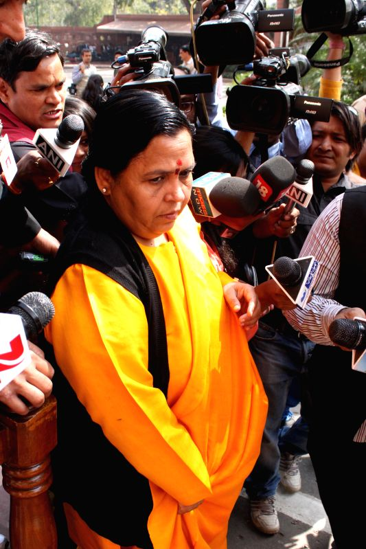 Union Minister for Water resource, River Development and Ganga Rejuvenation Uma Bharti at the Parliament in New Delhi, on March 11, 2015.