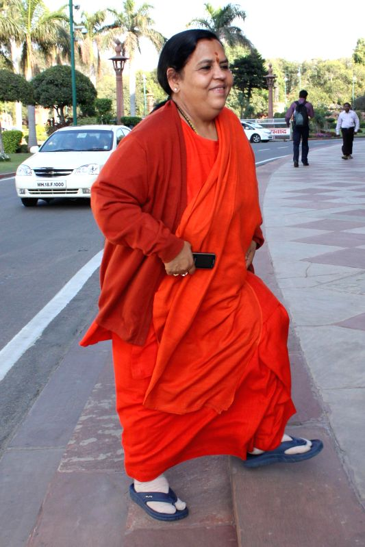 Union Minister for Water resource, River Development and Ganga Rejuvenation Uma Bharti at the Parliament in New Delhi, on March 18, 2015.