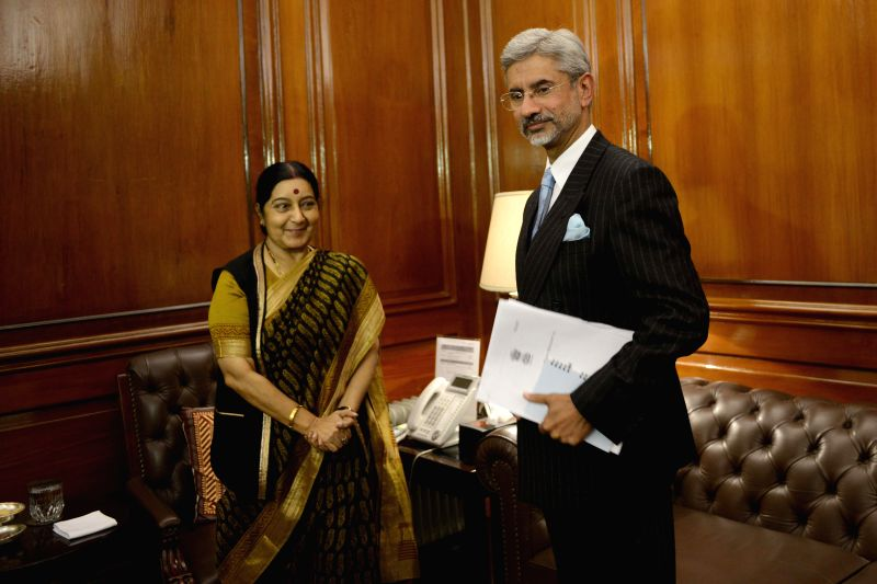 Union Minister of External Affairs Sushma Swaraj welcome Subrahmanyam Jaishankar as he took charge as the new foreign secretary on Jan. 29, 2015. - Sushma Swaraj