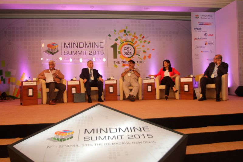 Union Minister of Road Transport and Highways of India Nitin Gadkari during the Mindmine Summit-2015 in New Delhi, on April 22, 2015.