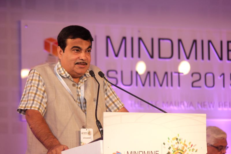 Union Minister of Road Transport and Highways of India Nitin Gadkari addresses at the Mindmine Summit -2015 in New Delhi, on April 22, 2015.