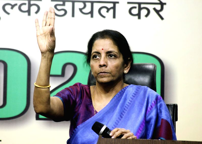 Union Minister of State for Commerce and Industry (Independent Charge) Nirmala Sitharaman during a BJP press conference in New Delhi, on Feb 6, 2015.