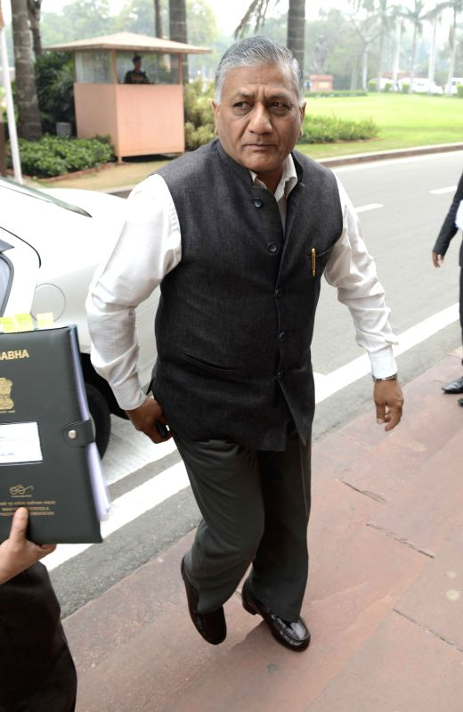 Union Minister of State for External Affairs General (Retd.) V.K. Singh arrives to attend the budget session of the Parliament in New Delhi, on Feb 25, 2015. - K. Singh