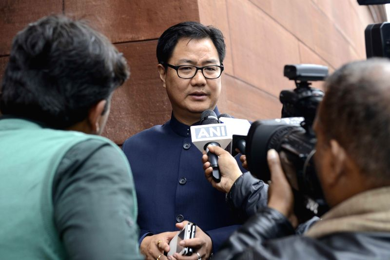 Union Minister of State for Home Affairs Kiren Rijiju talks to press at the Parliament during the budget session in New Delhi, on March 2, 2015.