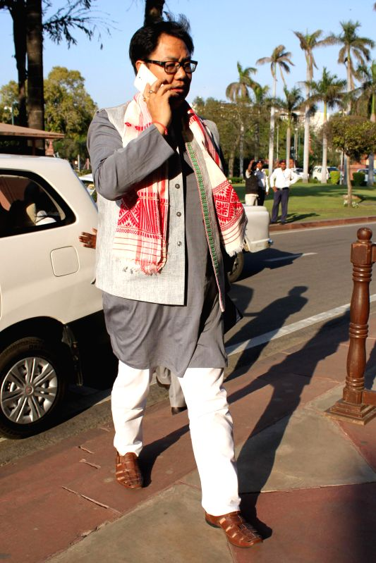 Union Minister of State for Home Affairs Kiren Rijiju at the Parliament in New Delhi, on March 18, 2015.