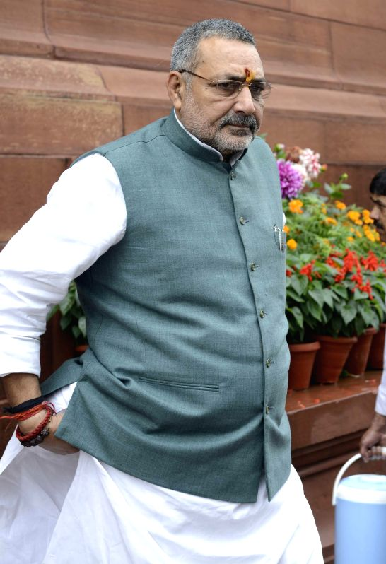 Union Minister of State for Micro, Small and Medium Enterprises, Giriraj Singh at the Parliament during the budget session in New Delhi, on March 2, 2015. - Giriraj Singh
